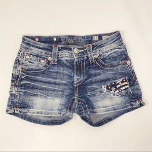 Miss Me Girls Denim Embellished Flag Shorts Sz 12